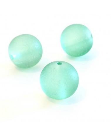 X4 Perles verre givrées 12mm