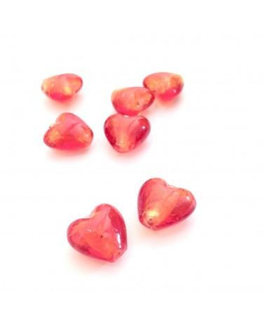 Perles verre coeur 13x11mm