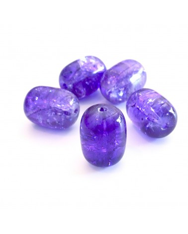 Perles verre tonneau craquelé 15x10mm