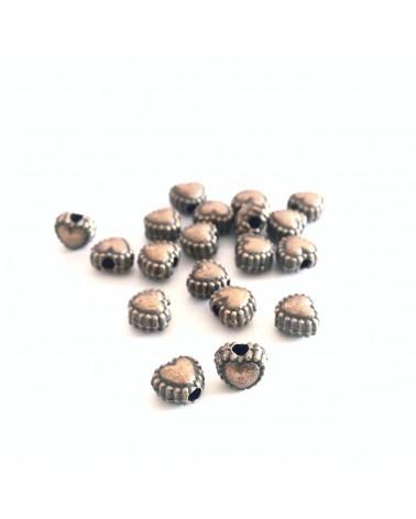 X10 perles métal coeurs 5mm