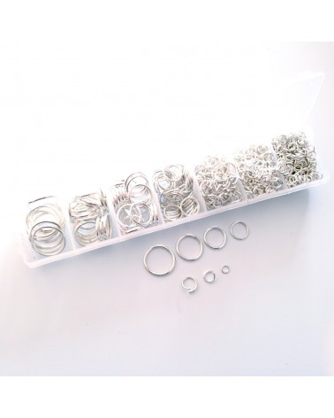 Boite 1000 anneaux argentés 4 à 16mm