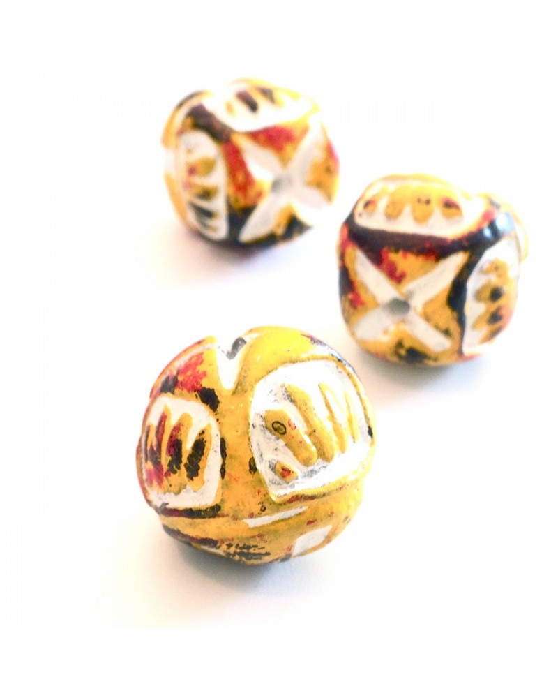 perles terre ethnique 16x15mm