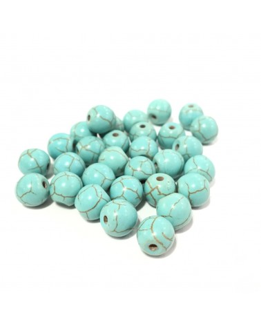 X5 Turquoises Synth. Veinées 6, 8 ou 10mm