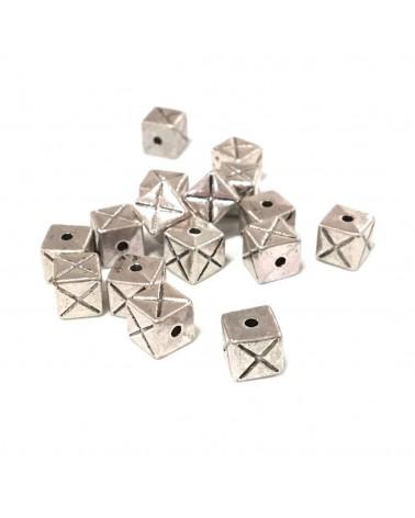X4 Perles métal cube 7mm