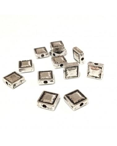 x10 Perles métal carrées 7.5mm
