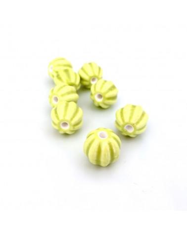 X4 Perles céramique melons 12mm