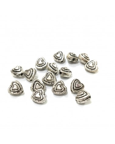 X50 perles métal coeur 6mm
