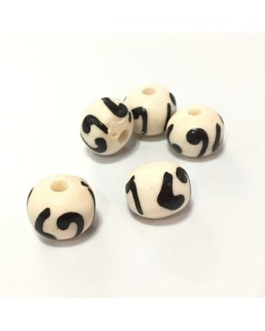 x2 Perles en os 11x9mm