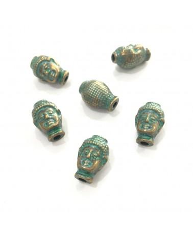 X3 perles métal têtes bouddha