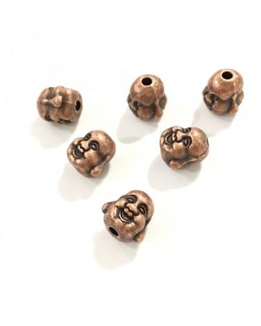 X4 perles métal têtes bouddha