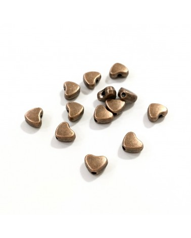 X10 perles métal coeur 5mm