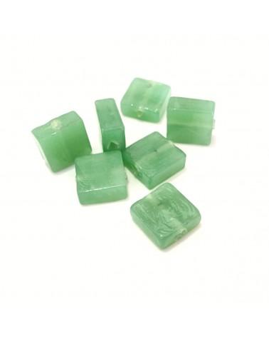 x20 perles verre carrées 12mm