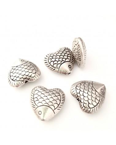 perle métal poisson coeur 17mm