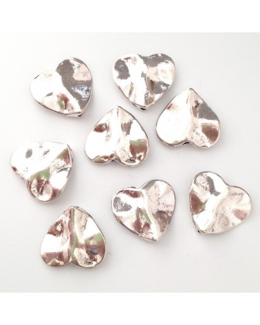 X2 perles métal coeurs 13x15mm