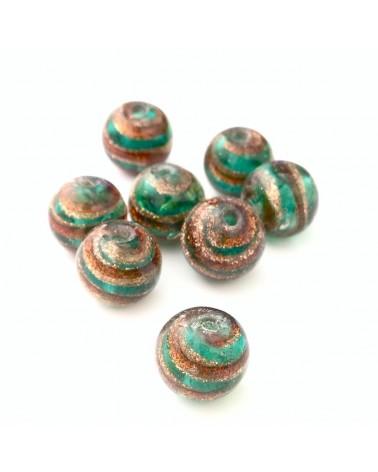 Perle verre spirale paillette 10mm