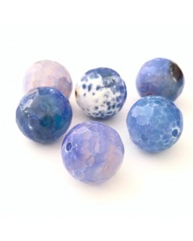 X2 Agates Bleues dentelles facettes 12mm