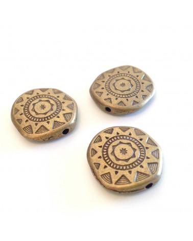 x1 perle métal Inca 18x17mm