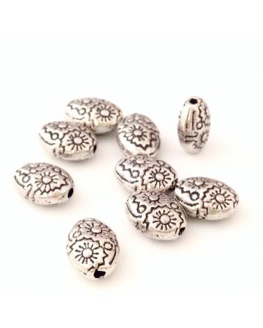X20 perles métal ovales 8x6mm