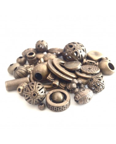 Mix Perle métal antique bronze