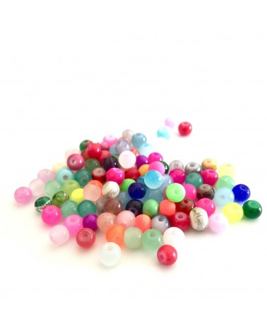 Mix 50 Perles verre 4mm