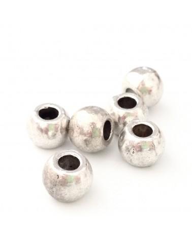 X20 perles métal rondes 6x7mm