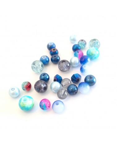 Mix 30 perle verre 6 à 8mm