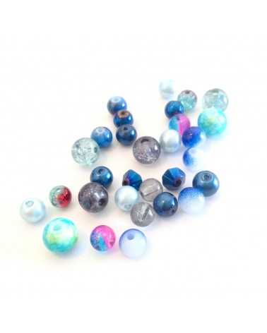Mix 30 perles verre 4 à 8mm