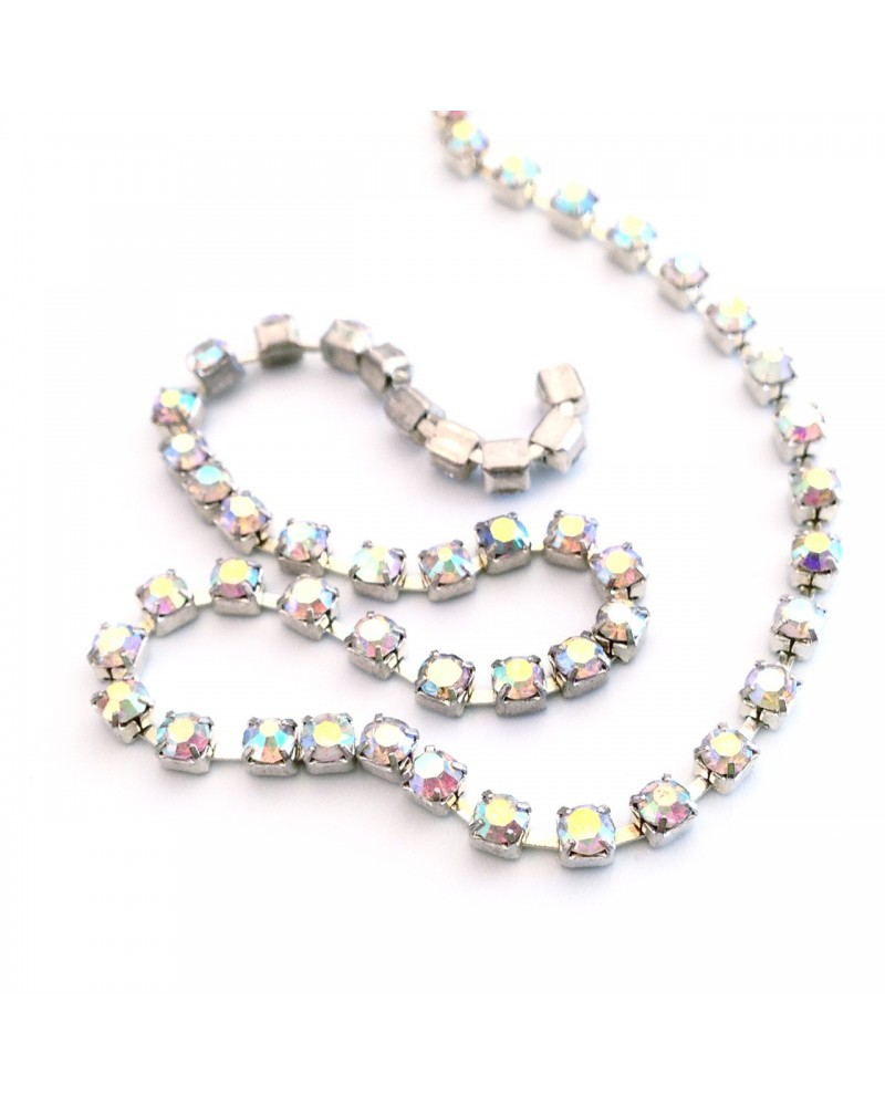 Chaine strass crystal transparent AB 2mm