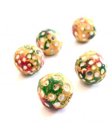 perles terre ethnique 15mm