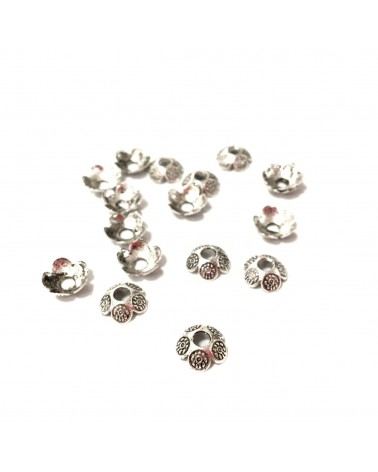 X10 Coupelles motif florale 8mm