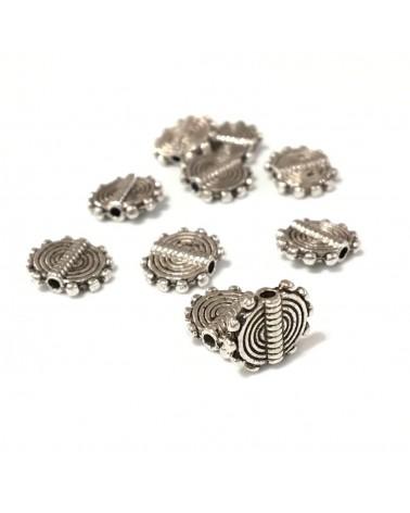 X2 Perles métal plates 9.5mm