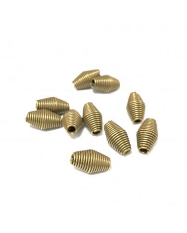 Perles métal toupie torsadée 9x6mm