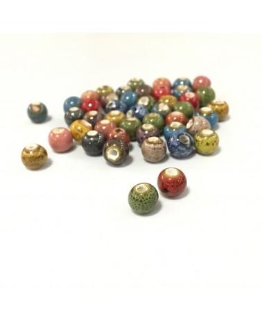 X10 Perles céramiques tachetées 6mm
