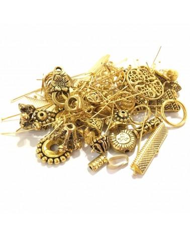 Mix Apprets et perles métal doré 50g