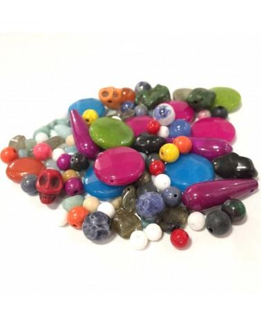 Mix assortiment perles semi précieuses et synthétiques