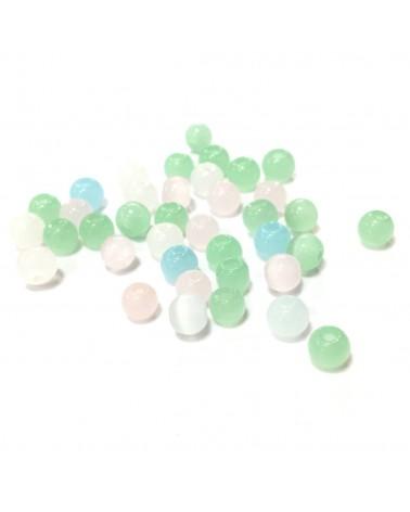 "X15 Perles verre ""oeil de chat"" 4mm"