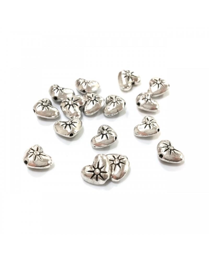X50 perles métal coeur 8mm