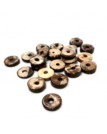 x10  perles rondelles coco 10mm