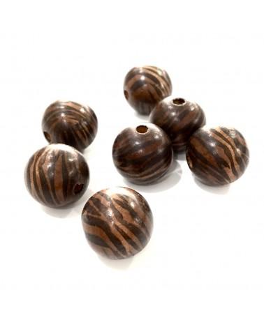 x1 perles bois zebrée 20mm