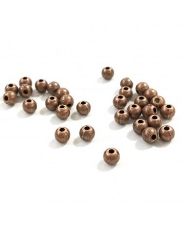 X10 perles métal ronde 4mm