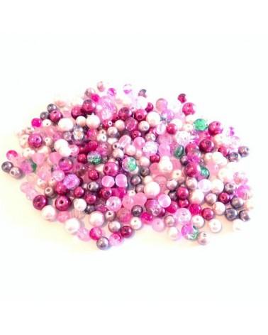 X300 perles verre 6 à 8mm Rose