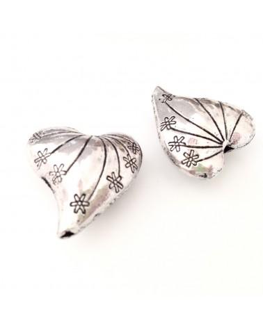 perle métal coeur 25mm