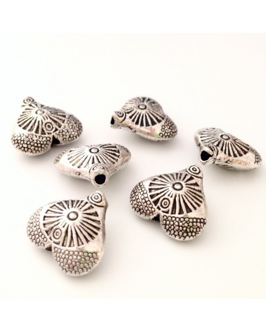 perle métal coeur 12x13mm