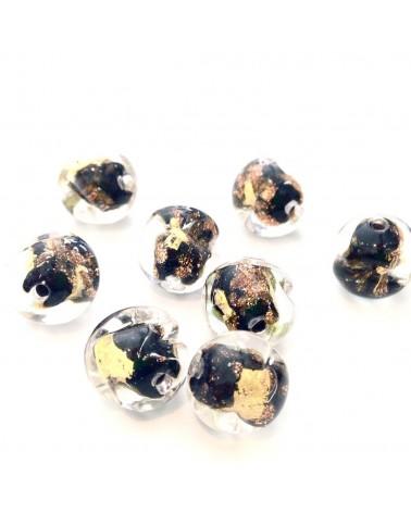X1 perles véritable feuille d'or 10mm
